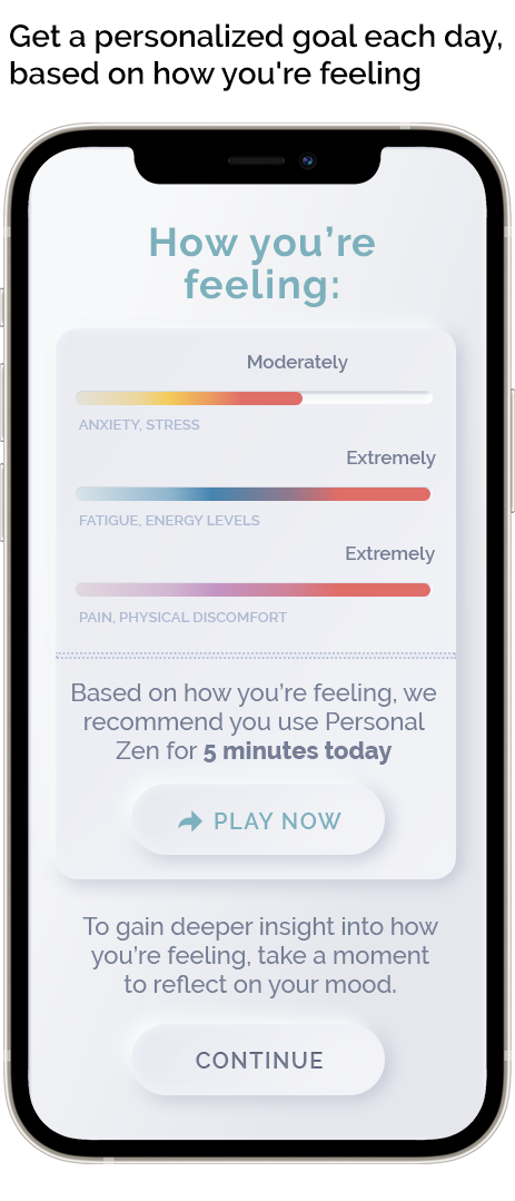 Clinically relevant stress tracking helps us determine how many minutes you should use Personal Zen to effectively reduce your stress and anxiety.